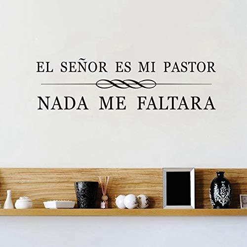 inyl, mit spanischen christlichen Zitaten EL Senor es mi Pastor, abnehmbar, Art Vinilos Pegatinas Heimdekoration, Schwarz, 56x18cm ()