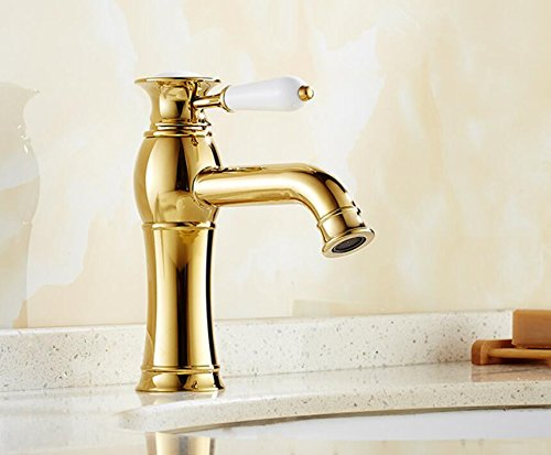 Mkkwp Vintage Gold Zähler Top Becken Wasserhahn Klassische Porzellan Einzigen Handgriff Waschbecken Becken Heiße Und Kalte Mischbatterie