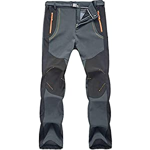41JAUDJsM0L. SS300  - Jywmsc Men's Outdoor Hiking Climbing Trousers Waterproof Windproof Softshell Thermal Pants With Belt
