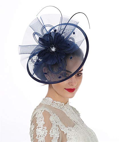 ed4018e7 Lucky Leaf Women Girl Fascinators Hair Clip Hairpin Hat Feather Cocktail  Wedding Tea Party Hat (