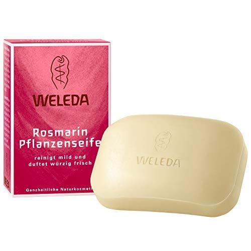 WELEDA Rosmarin Pflanzenseife, vegane Naturkosmetik Kernseife mit ätherischen Ölen reinigt und belebt die Haut und den Körper, erzeugt einen cremigen Schaum (1 x 100 g) -