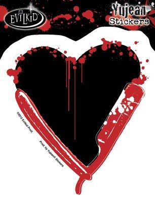 "Preisvergleich Produktbild Evilkid - Razor Heart Sticker Decal - 4.25"" x 4.75"" Die-Cut - Weather Resistant, Long Lasting for Any Surface"