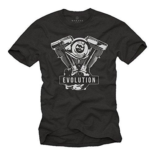Geschenke für Motorradfahrer - Biker Evolution Davidson T-Shirt Motorrad Motor - schwarz mit Aufdruck XXXL