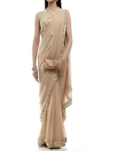 Vinayak Textiles Georgette Saree With Blouse Piece (Vtkt3048-4_Beige_Free Size)