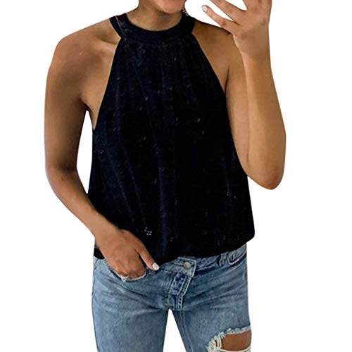 DEELIN Damen Sexy Tank Tops Lace Up Ärmelloses T-Shirt Samt Rollkragen Weste Top