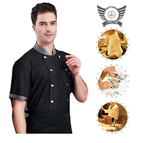 Chef Works Kleidung (YISITIE Chef Works Kleidung Kurzarm, Koch Arbeitskleidung,Black,2XL)
