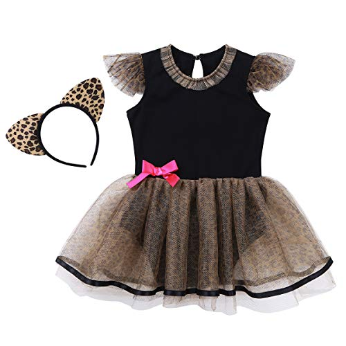 Leopard Halloween Katze Kostüm - Agoky Baby Mädchen Katze Kostüm Kleid Strampler Tutu Rock mit Stirnband für Karneval Halloween Party Dress Up Verkleidung Weihnachten Outfits Schwarz&Braun 86-92/18-24 Monate