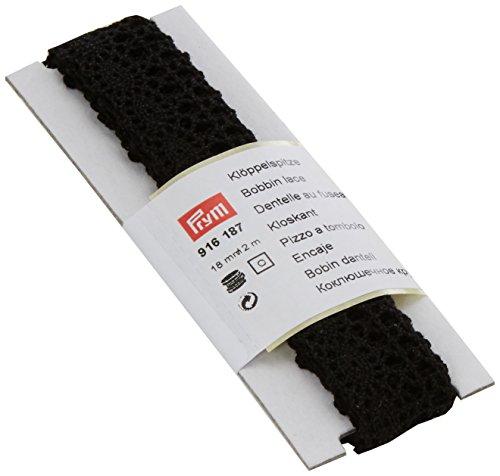 Prym Bobine en Dentelle, 100% Coton, Noir, 18 mm, 2 m