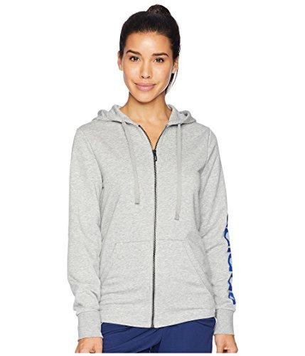 adidas Womens Essential Linear Full Zip Hoodie, Gray/Blue, x-Large -