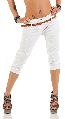 Danaest Damen Capri Hose inkl. Gürtel (624), Farbe:Weiß, Grösse:XXL/44
