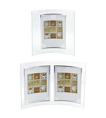 Ideal Verona Glas Bilderrahmen 10x15 cm 13x18 cm 15x20 cm Bilder gebogen Foto Rahmen: Farbe: Silber Hoch | Format: 2X 13x18