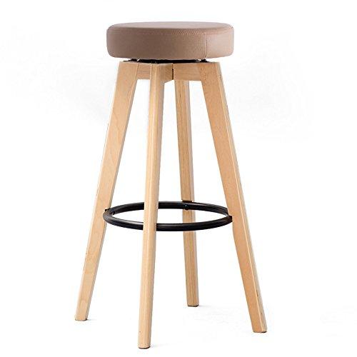 DEO Bureau d'ordinateur Tabourets de bar Articles ménagers 360 ° renouvelable Tabouret en bois de caoutchouc durable (Couleur : Marron, taille : 65cm)