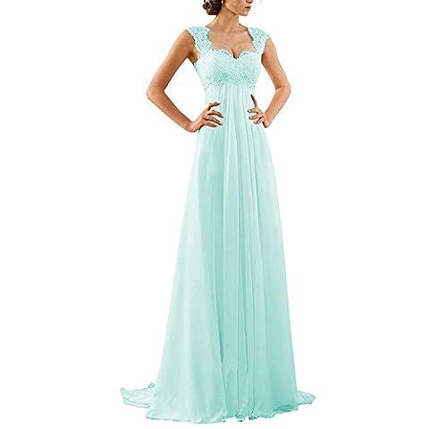 Aiyana A-Linie Chiffon Langes Rueckenfrei Kleid Rueckenfrei Schnuerung Abendkleid Spitze Brautkleid (42, Light Blue)