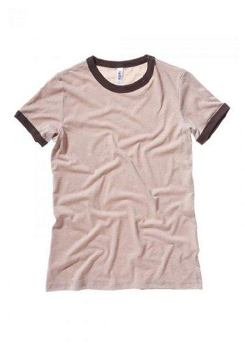 Ladies' Jersey Short-Sleeve Ringer T-Shirt HTHR TAN/ CHOCLT L