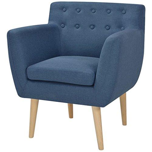 Vidaxl poltrona poltrone divano divani salotto soggiorno stoffa 67x59x77 cm blu