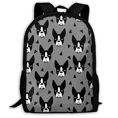 Boston Terrier Grauer Boston-Terrier-Hund niedlicher Haustier-Hundezucht Fabric_326 Reisen-Laptop-Rucksack, Extra großer College-Studenten-Rucksack für Männer und Frauen, klassischer Rucksack