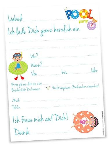 12 Einladungskarten Party Im Schwimmbad Kindergeburtstag Hallenbad Spassbad   ...