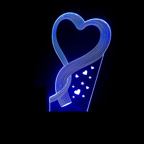 ZWL 3D Petite lampe de table, Creative Love Lumière de nuit USB coloré Trois dimensions Lumières visuelles Chambre Table de chevet Ambiance Petite Lampe Cadeau de la Saint-Valentin Cadeau d'anniversaire Cadeaux de vacances Fashion.z ( taille : A )