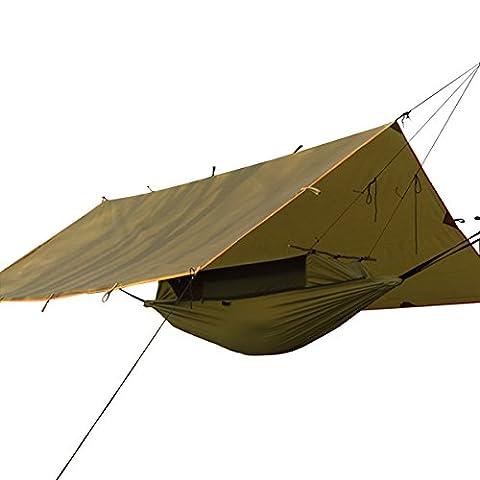 gratuit Soldat extérieur anti-UV protection solaire bâches étanche anti moustiques Camping pliable Hamac et ensemble de Auvent - marron