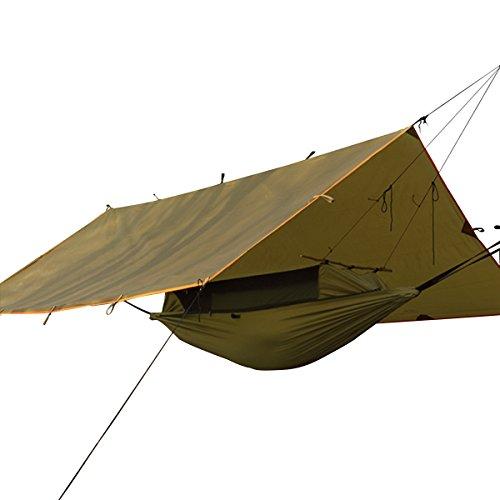 Free soldier set telo parasole e amaca da campeggio pieghevole, protezione solare anti-uv, tessuto impermeabile, anti zanzare, brown