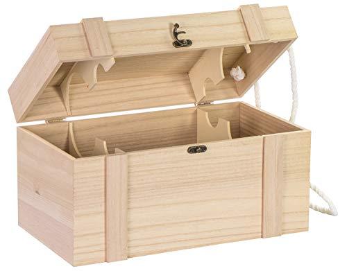 Caja de madera grande para botellas de vino, natural.    Detalles técnicos:    Caja de vino natural sin barnizar (100% madera maciza, FSC 100%).    Material: madera de Paulownia.    Color: natural.    Dimensiones: aprox. 35 x 19 x 19 cm.    Grosor...