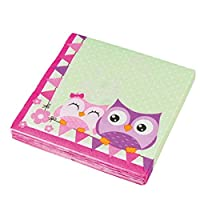 Amakando Owlet table serviette Kids Birthday 20 napkins Owl 33x33cm Party napkins cute celebration adornment girls birds event accessories disposable items