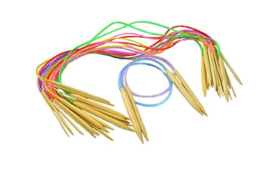 Seawhisper 20 Dimensioni Candeggina Di Bambù Circolare Ferri Da Maglia 80cm con Tubo di Plastica Colorata