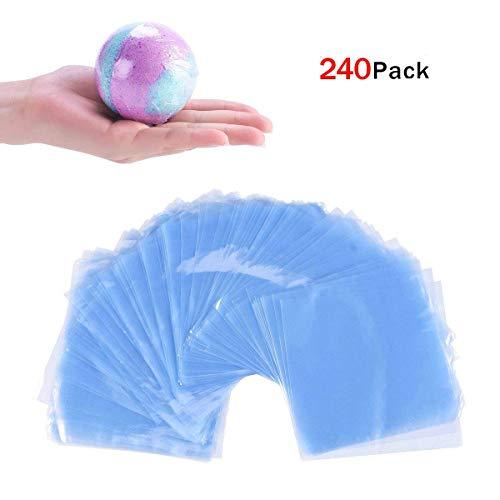 JER Schrumpffolie, 240 Stück PVC Flachbeutel Heißsiegel Transparent Folie wasserdichte Shrink Wrap Taschen für Seifen Badebomben Kunsthandwerk und DIY Handwerk