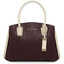 J By Jasper Conran Wine Red Three Section Metal Detail Small Grab Bag