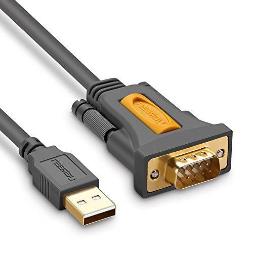 UGREEN 2m USB auf RS232 Seriell Adapter USB Seriell Konverter Kabel USB Seriell DB9 Stecker auf A Stecker mit PL2303 Chipsatz Unterstützt für 10/8/7/Vista/XP/ Win10/2000 und Mac OS X 10.6 und so weiter, Vergoldete Kontakte für stabile Verbindung Grau (Stecker Rs232-zu-usb)