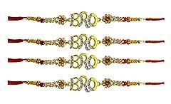 Idea Regalo - Set di 4 braccialetti Rakhi per Raksha Bandhana