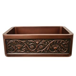 Whitehaus Haus 30 Inch Rectangular Undermount Sink With A Sun Flower Design Front Apron Smooth Copper