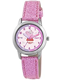 Peppa Pig Children's Quartz Watch with Baby Pink Dial Time Teacher Display and Pink PU Strap PP011