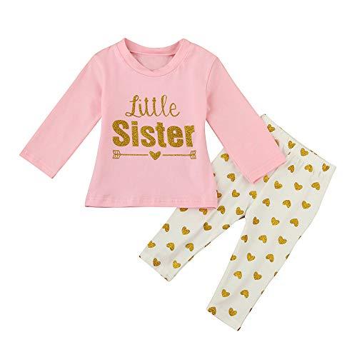(Neugeborene Babys Babybekleidung Mode Schlafanzüge Baumwolle Mädchenbekleidung Outfits Babyausstattung Buchstaben T-Shirt Bluse + Herz Lange Hosen Kleidung Outfits Felicove)
