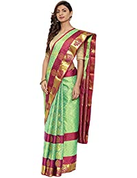 CLASSICATE From the house of The Chennai Silks Traditional Silk Saree with Colorblock Border (CCMYSS10398 - Bud Green)