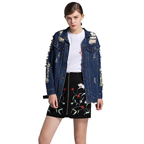 HCFKJ 2017 Mode Damen Jeans Hole Button Langarm Cowboy Denim Taschen Strickjacke Mantel (XL)