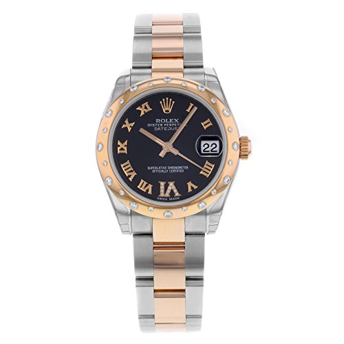 ROLEX DATEJUST 31MM STEEL AND ROSE GOLD WATCH WITH 24 DIAMONDS BEZEL CHOCOLATE DIAMOND DIAL UNWORN 178341