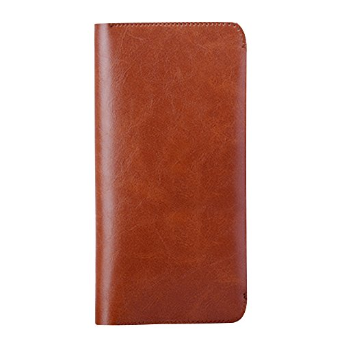 Skitic Long Design Multifunzione Chiusura Magnetica Custodia Borsa Portafoglio, Grande Capacità Handmade Liscio Microfiber Wallet with Card Slots Holder Case Borsetta per iPhone 5 / 5S / 6 / 6S / 6 Plus / 6s Plus / Samsung / Sony / LG - Marrone Scuro
