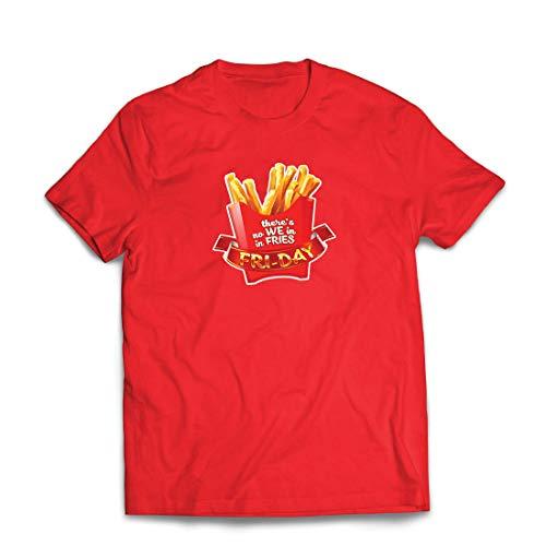 hirt Es gibt Keine wir in Pommes Freitag Outfit Junk Food Liebhaber (Small Rot Mehrfarben) ()