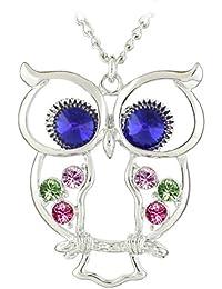 Le Premium® Collier avec pendentif coloré Ailes Owl Sappire Blue Crystal Eye Wings blanc plaqué or