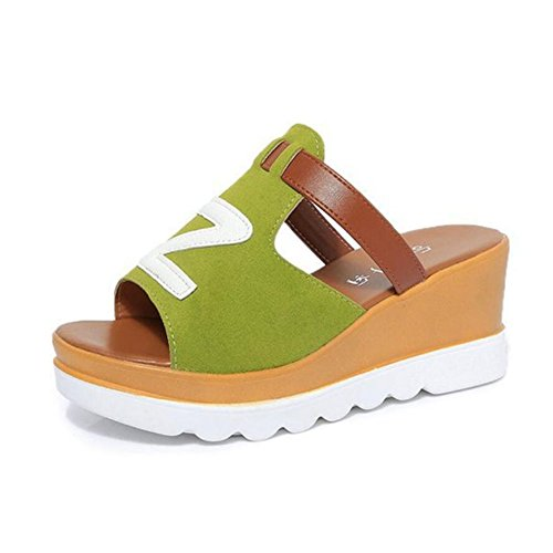 GAOLIXIA Chaussures femmes pantoufles nouvelle plate-forme d'été chaussures pente avec des sandales à talons hauts vert noir gris