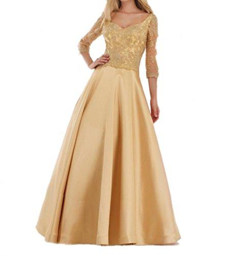 Charmant Damen Elegant Royal Blau Spitze Damen Festlichkleider Brautmutterkleider Abendkleider Langarmarm Gold