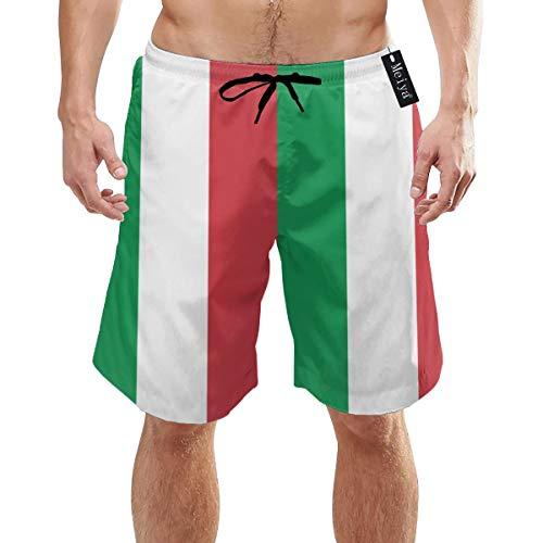 Dutars Badeshorts mit Italienischer Flagge, schnelltrocknend, Badeanzug, Volley-Badehose Gr. L/XL, weiß