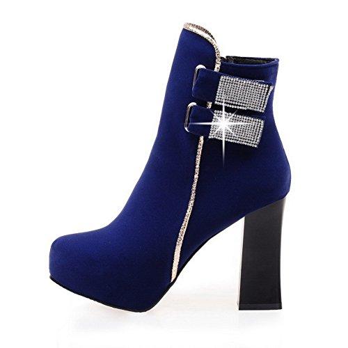AgooLar Damen Hoher Absatz Rein Rund Zehe Reißverschluss Stiefel, Blau, 37