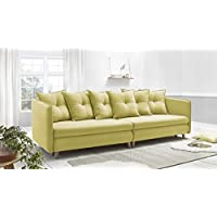 Bobochic Opti Sofa Canapé Convertible Tissu Jaune 264 x 103 x 77 cm