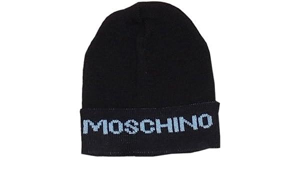 New Men s Black Moschino 100% Wool Beanie Hat One Size  Amazon.co.uk   Clothing c11129d7036