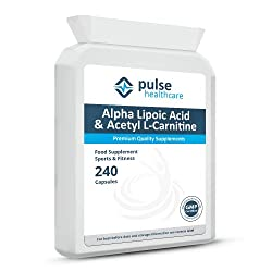 Pulse Healthcare Alpha Lipoic Acid & Acetyl L-carnitine 240 Capsules Sports Supplement Essential Amino Acid Natural Fatty Acid High Level Antioxidants Premium Quality Gmp Supplement