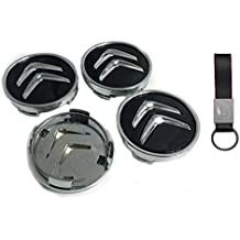 Set 4X Tapacubos 60MM Negro para Citroen C1 C2 C3 Logo Emblema Tapas para Llantas de