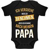 Shirtracer Sprüche Baby - Ich versuche Mich zu benehmen Papa orange - 1/3 Monate - Schwarz - BZ10 - Baby Body Kurzarm für Jungen und Mädchen