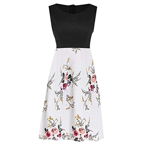 Vimoli Kurze röcke Frau Kleid Damen Vintage ärmelloses Damenkleid Bedruckt Floral Tunika Tank Dress(Schwarz,S)